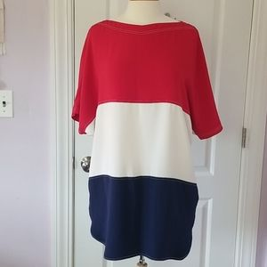 Lisa Perry Silk Dress in Red, White, and Blue